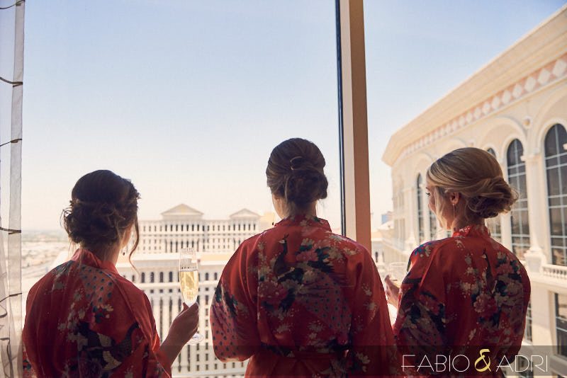 Bridesmaids at Bellagio Enjoying the View