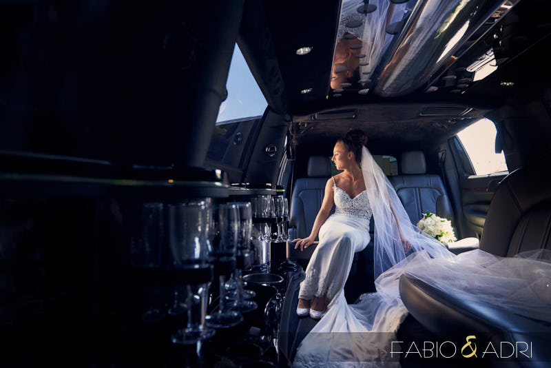 Bride Waiting in Limousine Before Church Las Vegas