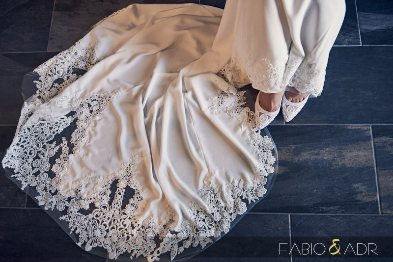 Lace Bridal Shoes and Train