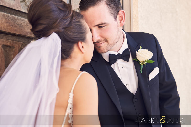 Bride and Groom Close Up Outside Church Henderson Nevada