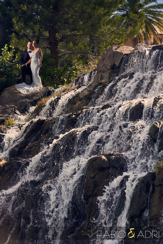 Bride and Groom at Waterfall at Southern Highlands Wedding Las Vegas