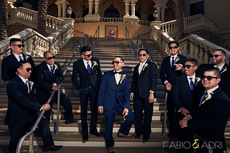 Groom and Groomsmen Photoin Sunglasses Las Vegas Wedding