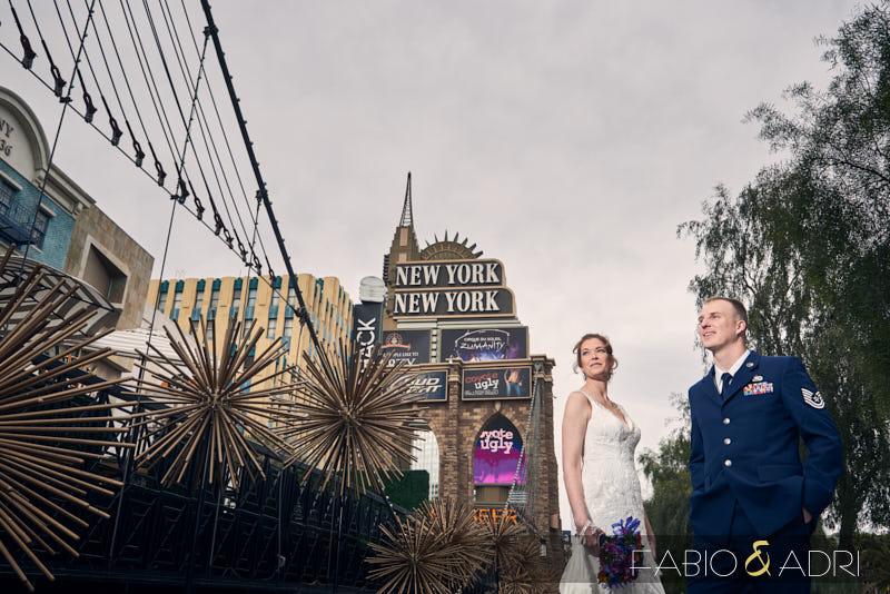 Bride and Groom at Las Vegas Strip New York New York