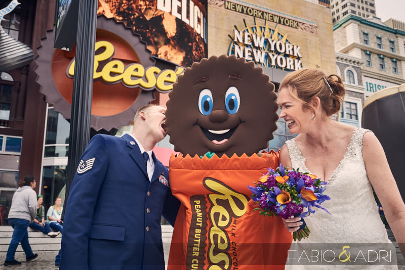 Fun Bride and Groom with Reese Peanut Butter Cup at Las Vegas Strip