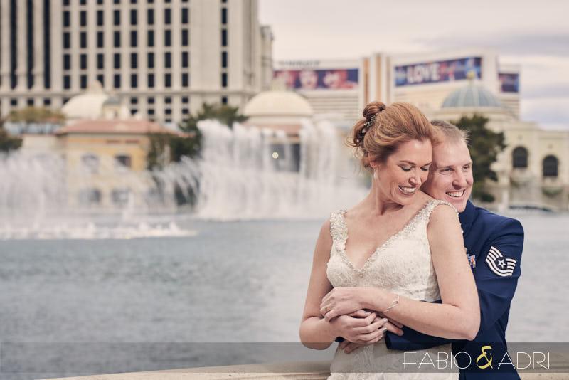 Wedding Photos Bellagio Fountains Bride and Groom