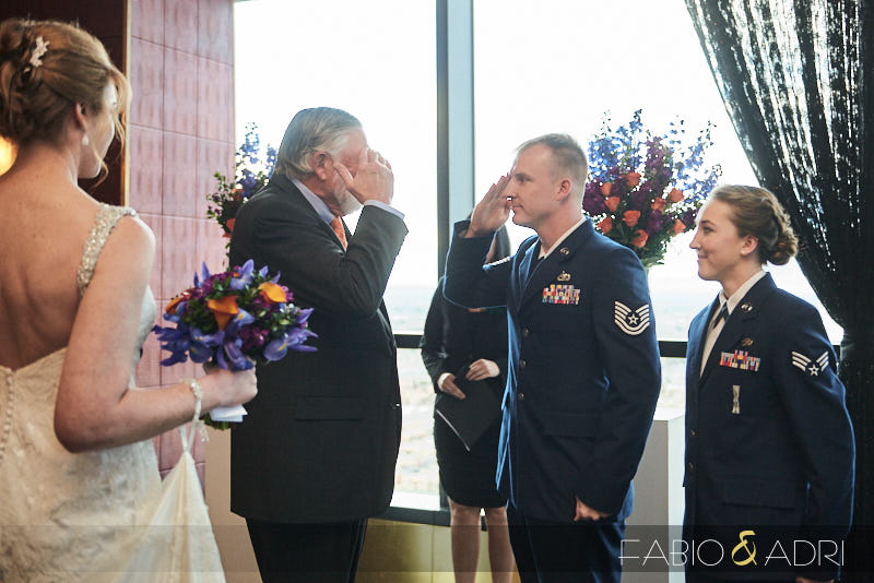Military Groom Salutes Father of Bride During Ceremony
