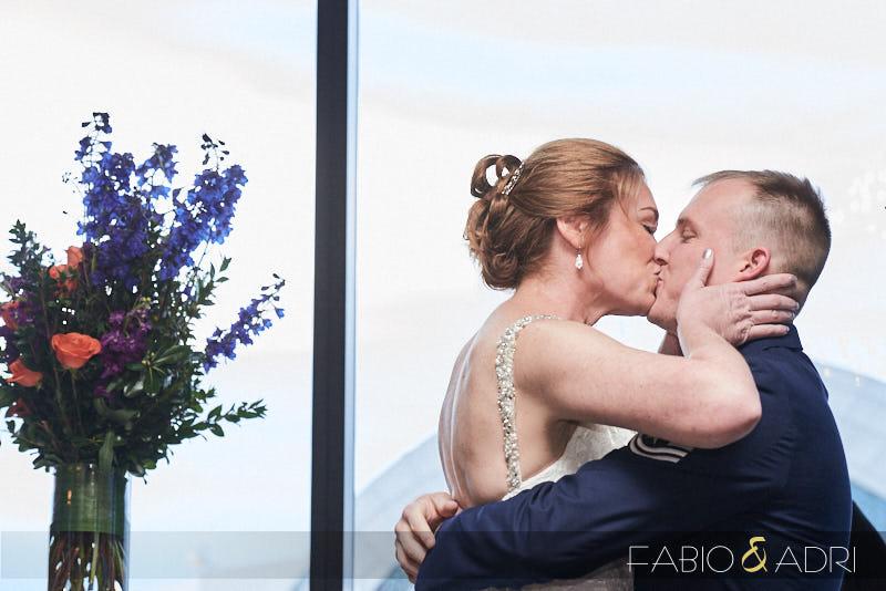 Fisrt Kiss Bride and Groom Las Vegas Wedding