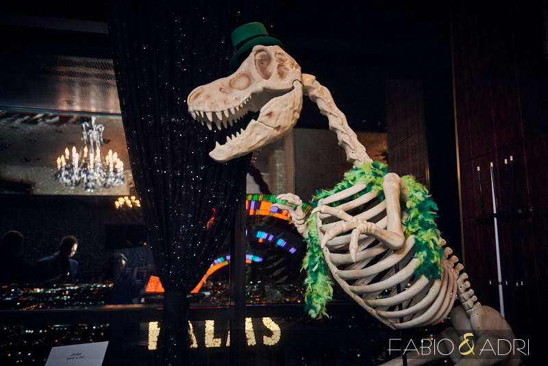 Giant Dinosuar at St Patricks Day Wedding Las Vegas