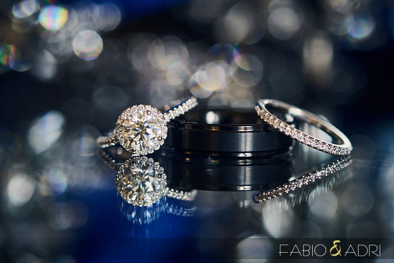 Wedding and Engagement Ring Close Up Photo