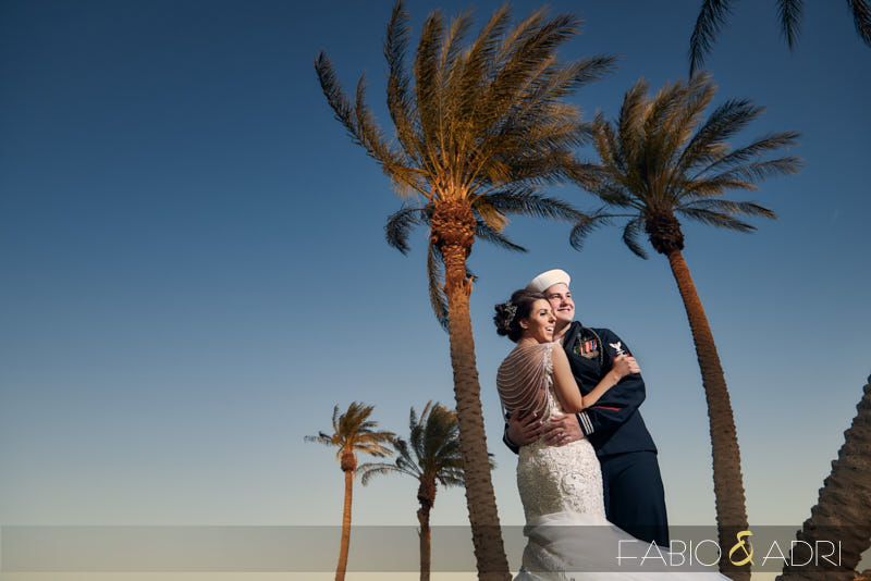Reflection Bay Wedding Lake Las Vegas Navy Groom Palm Trees
