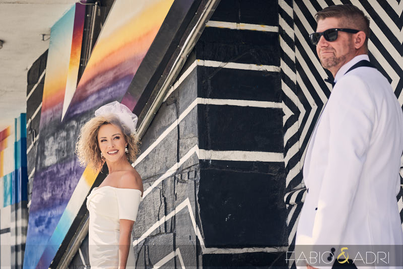 Downtown Las Vegas Elopement Photos White Suit