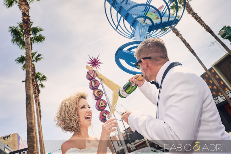 Wedding Couple Drinking Champagne Downtown Las Vegas