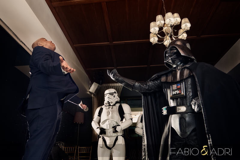 Darth Vader Fighting Groom Star Wars Wedding  Hyde Bellagio
