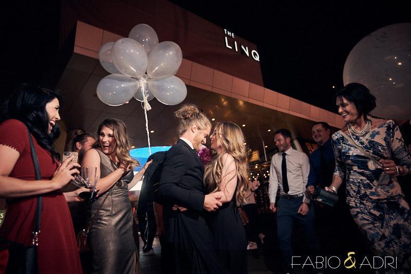 Las Vegas Strip Newly Married Bride and Groom