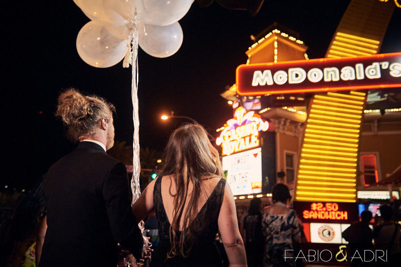 Las Vegas Strip Newly Married Bride and Groom with Ballons