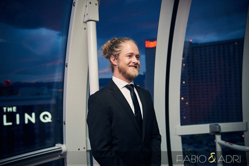 Groom Waiting for Bride at High Roller Wedding