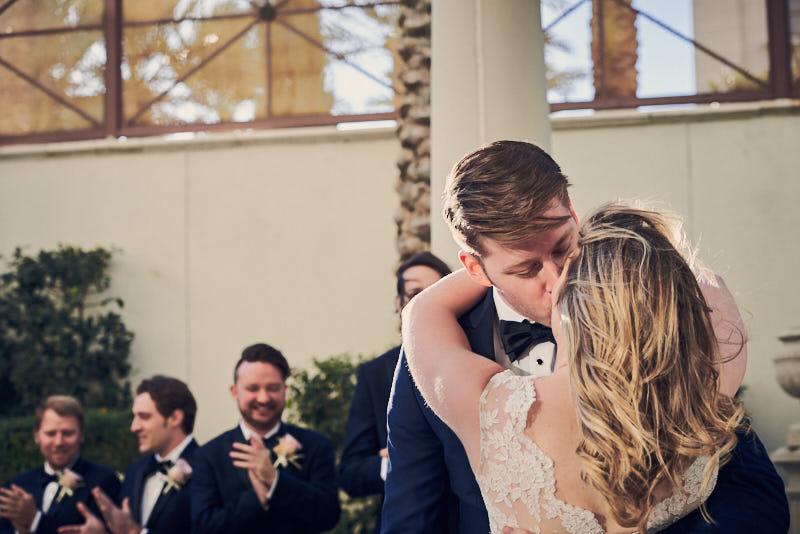 Wedding Ceremony Kiss Juno Garden Caesars Palace Las Vegas