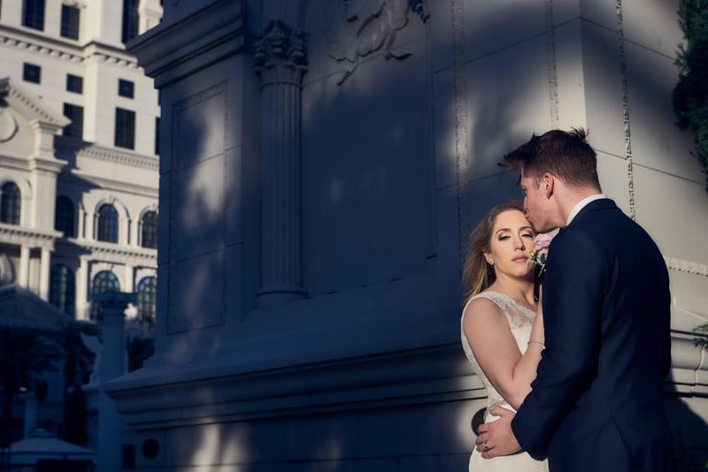 Bride and Groom at Caesars Palace Las Vegas