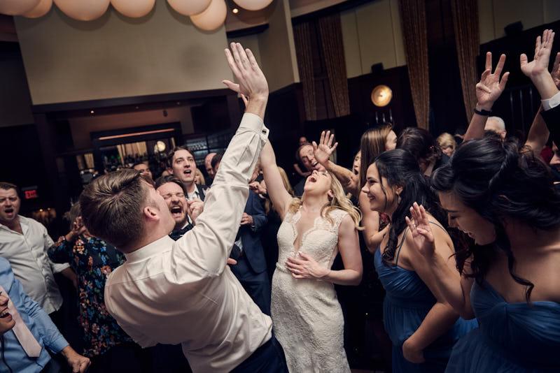 Bride and Groom Dancing Wedding Reception Joes Stone Crab Gigi Room Las Vegas