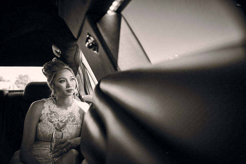 Bride Riding in Limousine Las Vegas