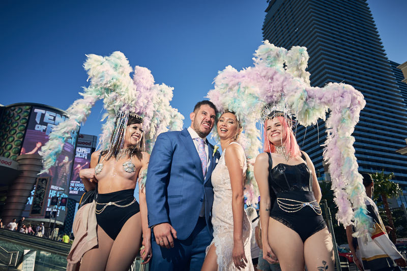 Bride and Groom Las Vegas Strip Show Girls
