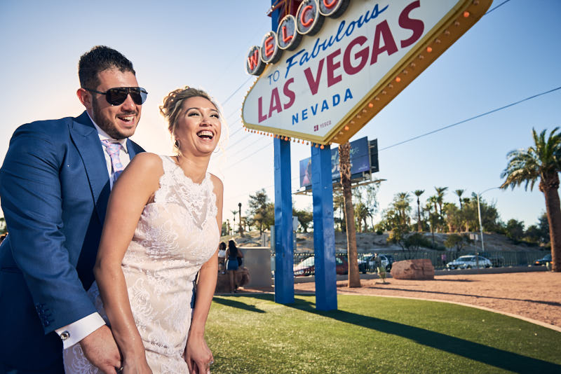 Bride and Groom Las Vegas Sign