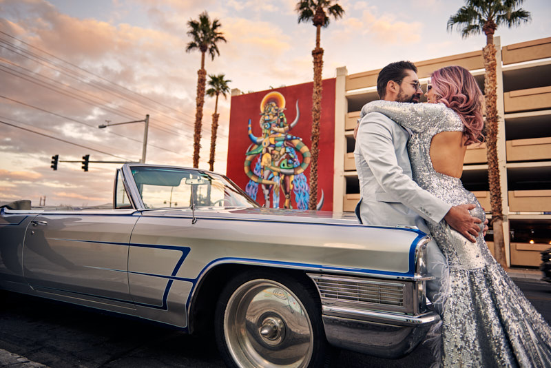 Downtown Las Vegas Cool Wedding Anniversary Session