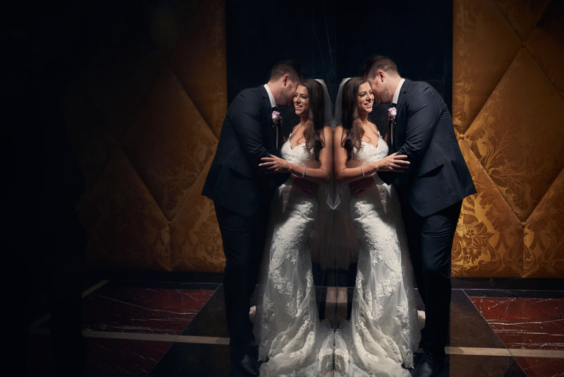 Bride and Groom Wedding Portraits Waldorf Astoria Las Vegas