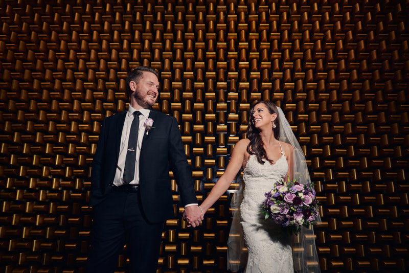 Golden Wall Wedding Portrait Waldorf Astoria Las Vegas